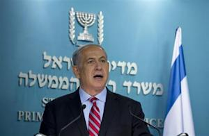 Israel's PM Netanyahu delivers a statement at his office in Jerusalem