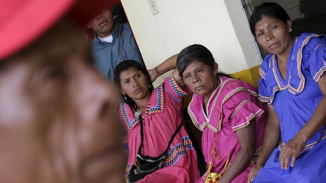 Ngabe indigenous women sit during a community reunion in Hato Chami in the Ngabe- Bugle Region