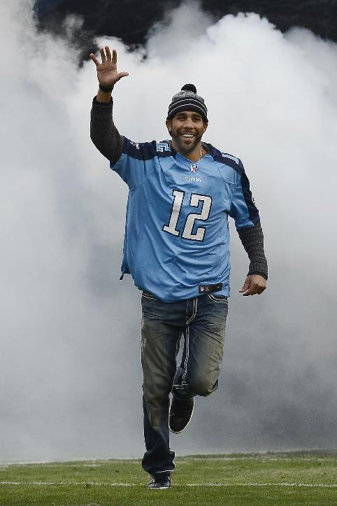 Tampa Rays pitcher David Price is introduced as the Tennessee Titans 12th Man before an NFL football game between the Titans and the Arizona Cardinals Sunday, Dec. 15, 2013, in Nashville, Tenn. Price played baseball for Vanderbilt University in Nashville