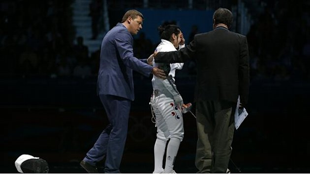 South Korean fencer stages Olympic sit-in