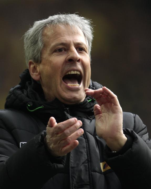Borussia Moenchengladbach's coach Favre reacts during the German first division Bundesliga soccer match against Borussia Dortmund in Dortmund