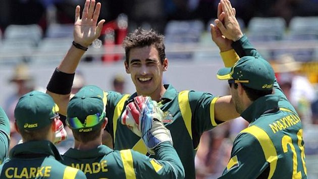 Mitchell Starc celebrates for Australia (AFP)