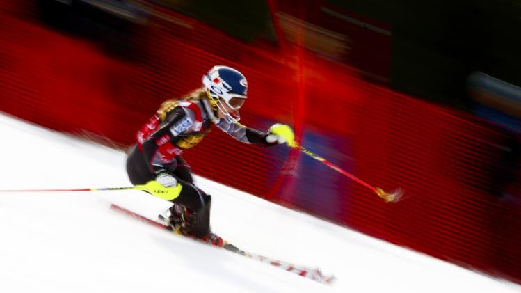 Shiffrin of the U.S. races to win the overall slalom World Cup and today's race at the FIS Alpine Skiing World Cup Finals in Lenzerheide