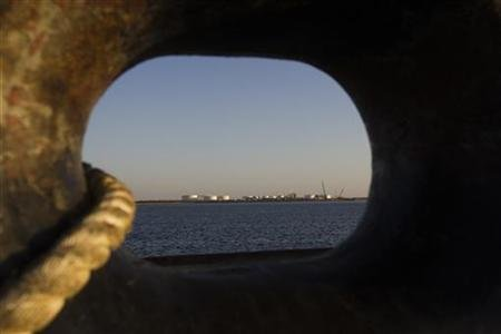 A general view of an oil dock is seen from a ship at the port of Kalantari in the city of Chabahar