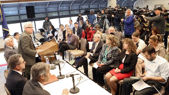 Members of the Community Hospital in Munster, Ind., hold a news conference concerning their recent patient who had contracted MERS in Saudi Arabia, Monday, May 5, 2014. (AP Photo/The Times, John J. Watkins)