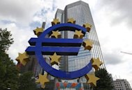 <p>A giant logo of the Euro currency stands in front of the European Central Bank (ECB) in the banking district of Frankfurt in Germany, on July 31, 2012.</p>