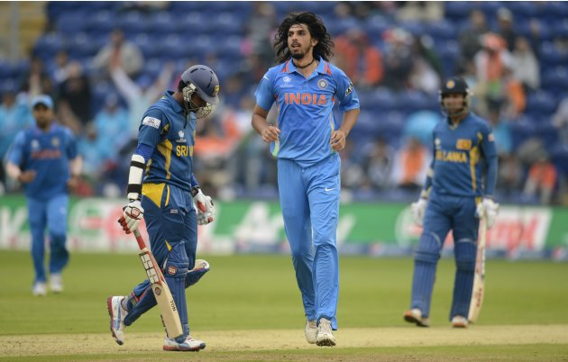 India's Sharma celebrates after dismissing Sri Lanka's Thirimanne during ICC Champions Trophy semi final match at Cardiff Wales Stadium