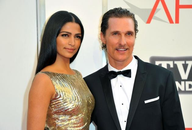 Camila Alves and Matthew McConaughey arrive at the 39th AFI Life Achievement Award Honoring Morgan Freeman in Culver City, Calif. on June 9, 2011  -- Getty Images