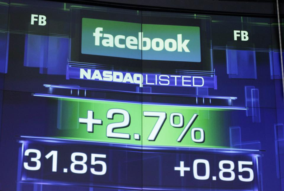 The pre-market price for Facebook stock is shown, Wednesday, May 23, 2012 at the Nasdaq MarketSite in New York. Facebook stock rose in early trading Wednesday, although still far below the $38 it was priced at before its initial public offering Friday. (AP Photo/Mark Lennihan)