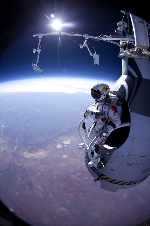 In this photo provided by Red Bull Stratos, Felix Baumgartner prepares to jump during the first manned test flight for Red Bull Stratos over Roswell, N.M. on Thursday, March 15, 2012. Baumgartner is m