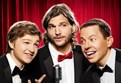 Angus T. Jones, Ashton Kutcher and Jon Cryer | Photo Credits: Matt Hoyle/Warner Brothers/CBS