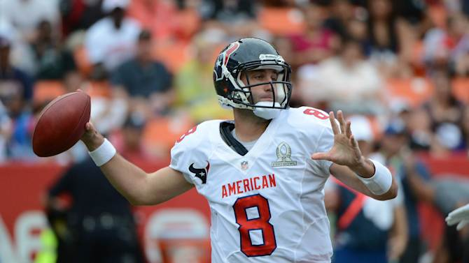 January 27, 2013; Honolulu, HI, USA; AFC quarterback Matt Schaub of the Houston Texans (8) passes the ball against the NFC in the second quarter during the 2013 Pro Bowl at Aloha Stadium. (Kyle Terada-USA TODAY Sports)