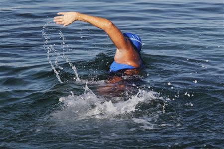 U.S. long-distance swimmer Diana Nyad swims on her way to Florida as she departs from Havana