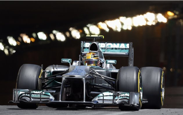 Mercedes Formula One driver Lewis Hamilton of Britain drives during the second practice session of the Monaco F1 Grand Prix
