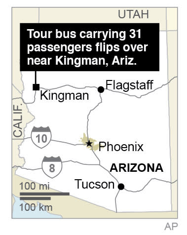 Map locates Kingman, Arizona where a tour bus flips over in a wash amid heavy rains; 1c x 2 inches; 46.5 mm x 50 mm;