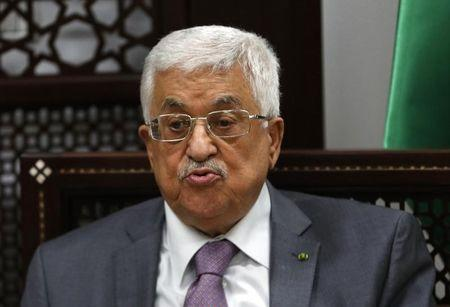 Palestinian President Abbas speaks during a meeting with U.N. Middle East envoy Serry in the West Bank city of Ramallah