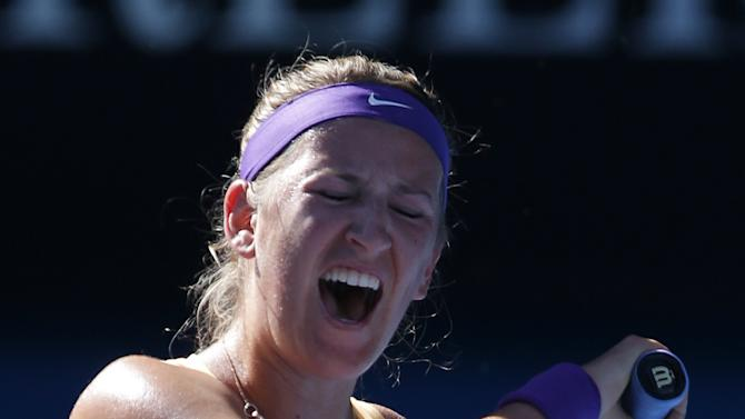 Victoria Azarenka of Belarus reacts during her semifinal match against Sloane Stephens of the US at the Australian Open tennis championship in Melbourne, Australia, Thursday, Jan. 24, 2013. (AP Photo/Rob Griffith)