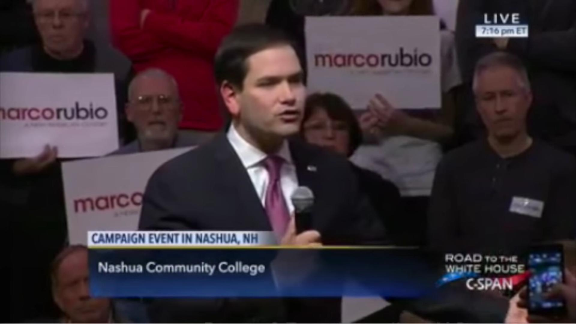 Marco Rubio seems to repeat line — again — after getting accused of being too scripted