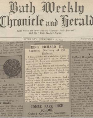 Richard III 'Discovery' Reported in 1935