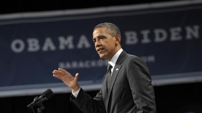 In this July 24, 2012, photo, President Barack Obama speaks at a fundraising event at the Oregon Convention Center in Portland, Ore. Stubbornly close and deeply divisive, the presidential race throttles into its last 100 days as an enormous clash over economic vision, likely to come down to fall debates, final unemployment numbers and fierce efforts to mobilize voters. It may seem like an election for the whole nation but only about eight states will decide who wins the White House. Polling shows the contest between Obama and Republican Mitt Romney remains remarkably static across the country and in the key states, even as both men and their allies pour money into largely negative television advertising to sway opinions. The two candidates will intensify their time before voters in the weeks ahead, knowing much of the public will not truly start paying attention until after Labor Day. (AP Photo/Susan Walsh)