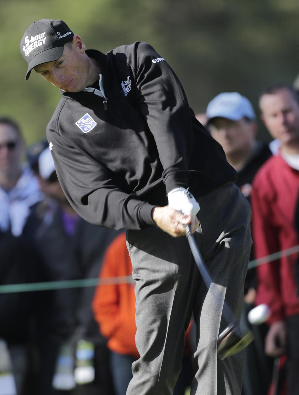 Jim Furyk hits a shot on the 10th hole during the second round of the U.S. Open Championship golf tournament Friday, June 15, 2012, at The Olympic Club in San Francisco. (AP Photo/Eric Gay)