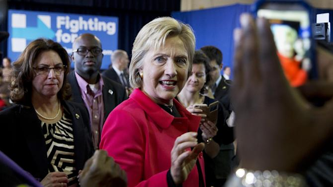 Democratic presidential candidate Hillary Clinton greets the crowd after speaking during a town hall meeting at Denmark Olar Elementary School in Denmark, S.C., Friday Feb. 12, 2016. (AP Photo/Jacquelyn Martin)