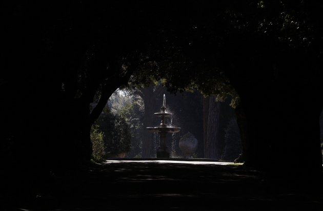 A fountain inside the summer residence of Pope Benedict XVI is seen in Castel Gandolfo