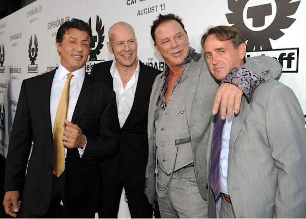 The Expendables LA Premiere 2010 Sylvester Stallone Bruce Willis Mickey Rourke Kevin King