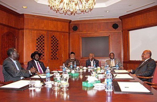 &lt;p&gt;President of Sudan Omer Hassan Al-Bashir (R) and his South Sudanese counterpart President Salva Kiir (2ndL) meet at the Sheraton Hotel in Addis Ababa. Frantic efforts to broker a deal on festering disputes between Sudan and South Sudan made little headway Tuesday, the third day of a presidential summit in the Ethiopian capital.&lt;/p&gt;