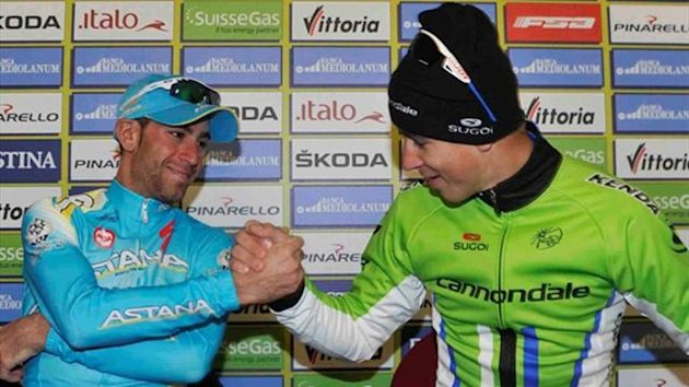 Peter Sagan and Vincenzo Nibali congratulate one another