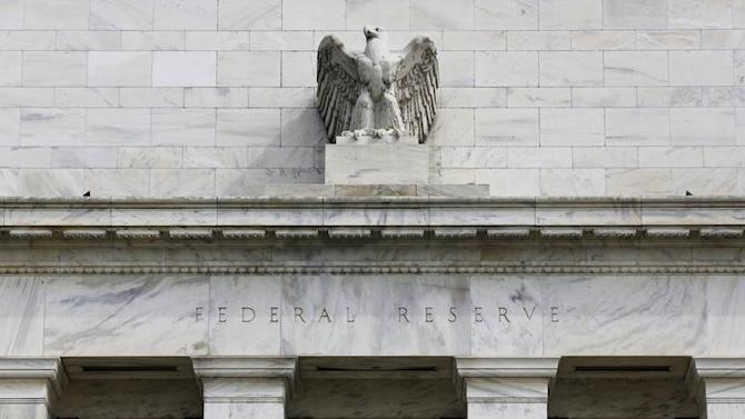 A view shows an eagle sculpture on Federal Reserve building in Washington
