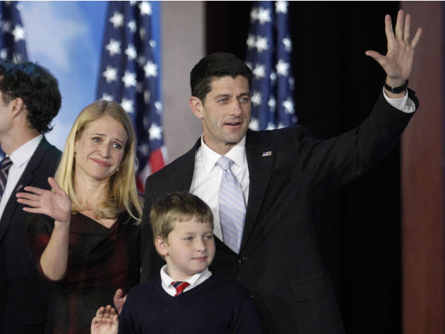 Republican vice presidential candidate, Rep. Paul Ryan, R-Wis., his wife Janna and their son Charlie wave to supporters after Republican presidential candidate and former Massachusetts Gov. Mitt Romne
