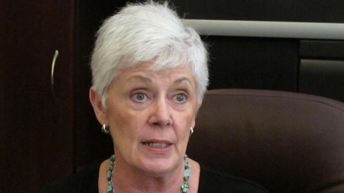 "FILE - In this June 28, 2012 file photo, Kansas Insurance Commissioner Sandy Praeger speaks in Topeka, Kansas. President Barack Obama's health care overhaul is unfolding as a national experiment with American consumers as the guinea pigs: Who will do a better job getting uninsured people covered, the states or the feds?  The nation is about evenly split between mostly blue states that decided by Friday's deadline they want a say in running new insurance markets and mainly red ones defaulting to federal control because they want nothing to do with ""Obamacare.""  (AP Photo/John Hanna, File)"
