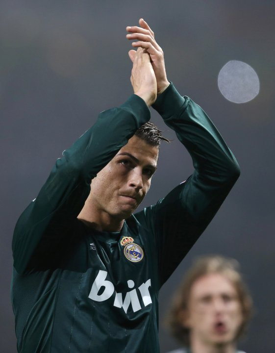 Real Madrid's Cristiano Ronaldo reacts after the Champions League soccer match against Manchester United at Old Trafford stadium in Manchester