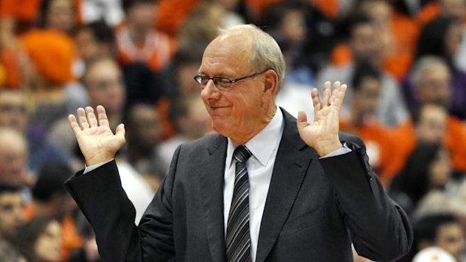 Syracuse head coach Jim Boeheim shows his displeasure with an official's call during the second half against Princeton in an NCAA college basketball game in Syracuse, N.Y., Wednesday, Nov. 21, 2012. Syracuse won 73-53. (AP Photo/Kevin Rivoli)