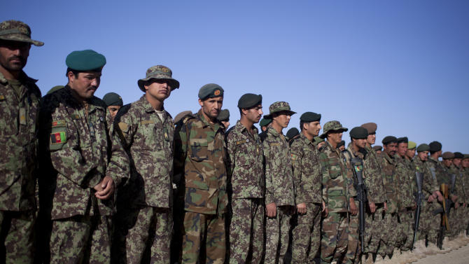 Afghan Army soldiers line up for  a morning inspection at Chinari outpost in Logar province, east Afghanistan, Tuesday, May 22, 2012. Afghan forces for the first time will take over the lead of the combat mission by the middle of 2013, a milestone moment in a long, costly transition of control.  (AP Photo/Anja Niedringhaus)
