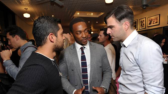 IMAGE DISTRIBUTED FOR KIEHL'S - From left, actors Wilmer Valderrama, Anthony Mackie and Zachary Quinto attend Kiehl's Earth Day Celebration at Kiehl's on Wednesday, April 17, 2013, in Santa Monica, Calif. (Photo by John Shearer/Invision for Kiehl's/AP Images)