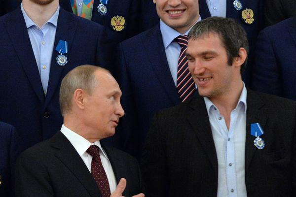 Alex Ovechkin, Vladimir Putin team up to face students