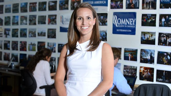 In this photo taken June 1, 2012, Mitt Romney's campaign national press secretary Andrea Saul is seen at the Romney campaign's Boston headquarters. Saul said Wednesday, a cancer-stricken woman featured in a Democratic ad would have had health care under the Republican presidential candidate's Massachusetts health plan. (AP Photo/Josh Reynolds)