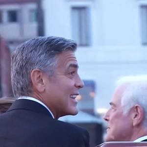 Raw: Water Taxi Ferries Clooney to Wedding