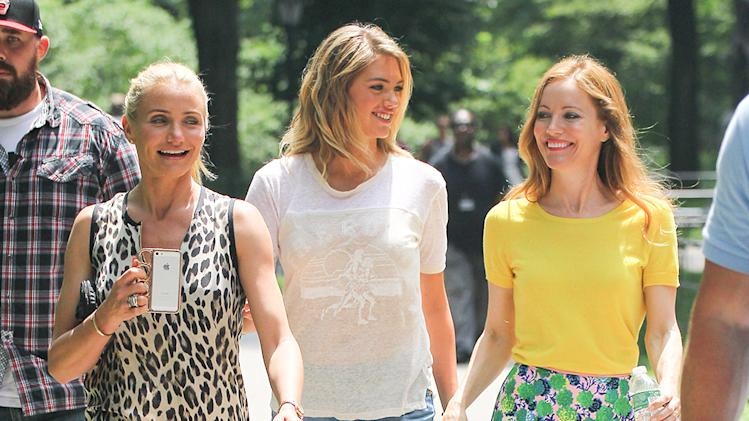 Cameron Diaz, Leslie Mann and Kate Upton filming in New York City