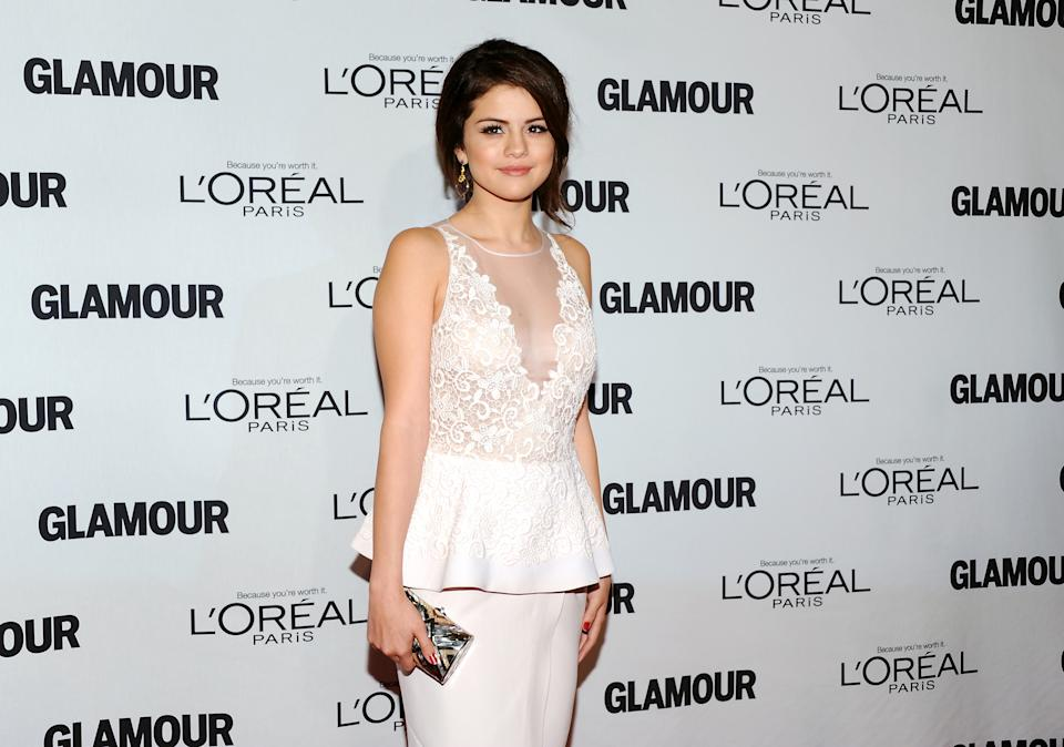"""The Independent Spirit"" award winner Selena Gomez attends Glamour Magazine's 22nd annual ""Women of the Year Awards"" at Carnegie Hall on Monday Nov. 12, 2012 in New York. (Photo by Evan Agostini/Invision/AP)"