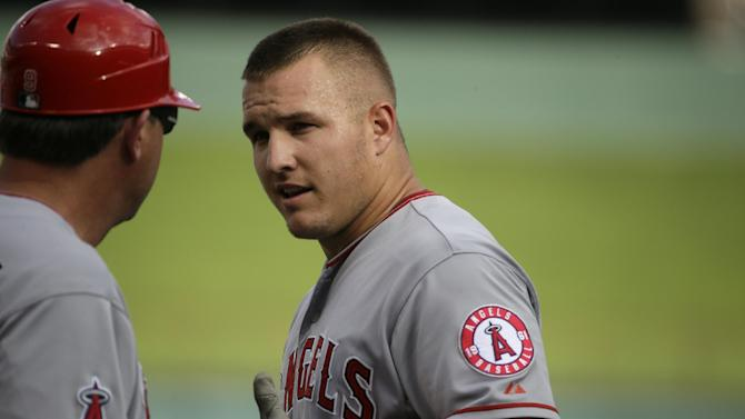 Los Angeles Angels Mike Trout during a baseball game against the Texas Rangers in Arlington, Texas, Sunday, July 5, 2015. (AP Photo/LM Otero)