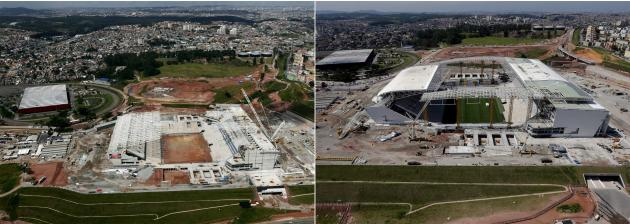 A combination photo shows aerial pictures of the construction of Arena Sao Paulo stadium, called Arena Corinthians, in Sao Paulo