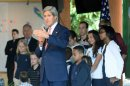 U.S. Secretary of State John Kerry gives a speech to employees of the U.S. Embassy and their relatives in Brasilia