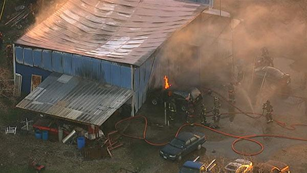 Fire strikes auto shop