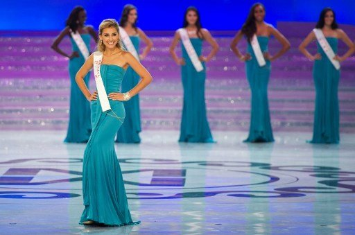 Miss Brazil Mariana Notarangelo parades during the Miss World 2012 final ceremony at the Dongsheng stadium in the inner Mongolian city of Ordos on August 18, 2012. China's Yu Wenxia of China defeated