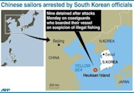 <p>Graphic locating the area where nine Chinese sailors were arrested by South Korean coastguards on Monday on suspicion of illegal fishing.</p>