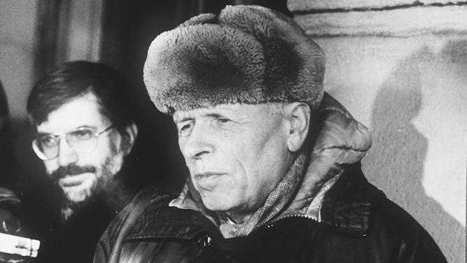 FILE - In this Feb. 21, 1988 file photo dissident Andrei Sakharov talks to western reporters after meeting the US Secretary of State George Schultz at his central Moscow apartment to discuss human rights. On Saturday, June 16, 2012 Aung San Suu Kyi , the 1991 Nobel Peace laureate, will give her much-awaited Nobel Lecture at Oslo City Hall, 21 years late. Soviet authorities barred dissident Andrei Sakharov from collecting the 1975 peace award and stripped him of his honorary titles. But his wife, Jelena Bonner, was able to accept the prize for him because she had been granted an exit visa to go to Italy to treat an eye disease before the prize announcement. (AP Photo/Boris Yurchenko, file)