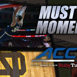 Notre Dame's Auguste Power Slams from the Baseline | ACC Must See Moment